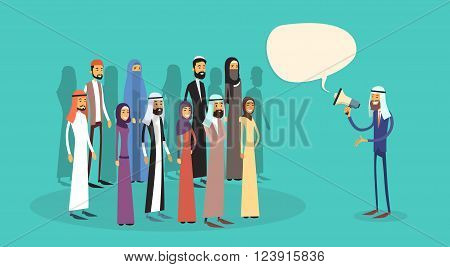 Arab Businessman Boss Hold Megaphone Loudspeaker Chat Bubble Arabic Colleagues Muslim Business People Team Group Flat Vector Illustration