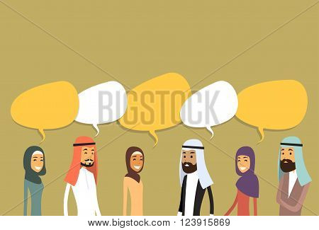 Arab Businesspeople Group Chat Bubble Communication Concept, Muslim Business People Talking Arabic Social Network Flat Vector Illustration