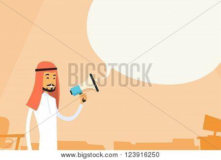 Arab Businessman Hold Megaphone Chat Bubble Copy Space Muslim Business Man Loudspeaker Flat Vector Illustration