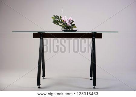 modern glass table studio shot