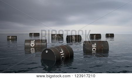 3D black oil drums floating on sea surface, with stormy sky, 3D Rendering