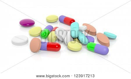 Various colorful pills,isolated on white background. 3D Rendering