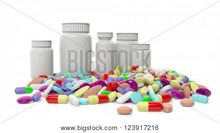 Various colorful pills with bottles, isolated on white background. 3D Rendering