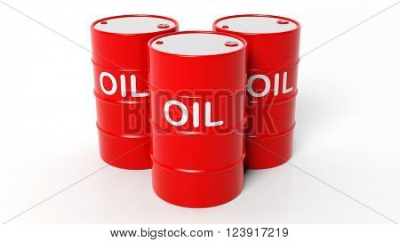 3D red oil drums ,isolated on white background, 3d rendering