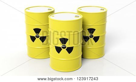 Yellow barrels for radioactive biohazard waste, isolated on white background, 3d rendering