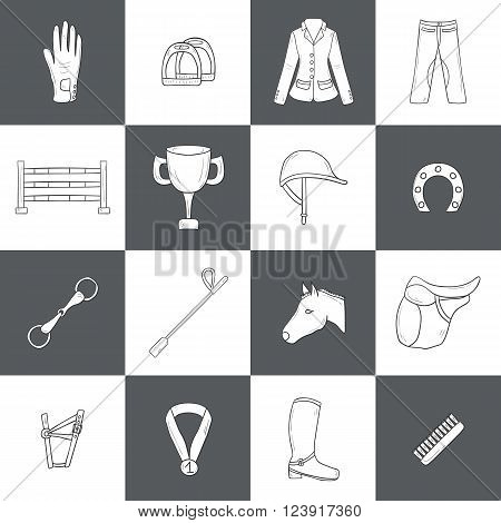Set of horse riding objects. Show jumping concept with horse equipment (saddle spurs brush) rider clothes (helmet jacket pants) barrier prize. Equestrian competition. Healthy outdoor activity design