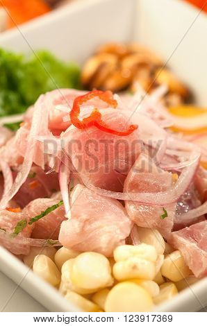 Fish ceviche, raw fish marinated in lime juice garnished with onion and hot peppers, a traditional dish from Peru.