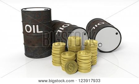 3D black oil drum with golden coins stacks ,isolated on white background, 3d rendering
