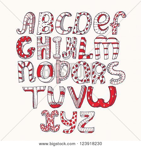 Hand-drawn black red and white capital letters alphabet stylish simple geometric ornate with stripes and dots three-dimensional perfect for education and lettering.