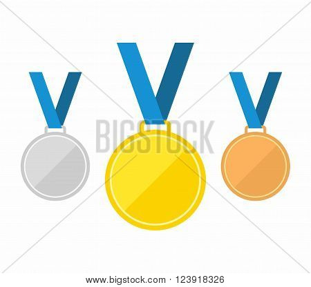 Set of gold medal, silver medal and bronze medal. Medals icons in flat style. Medals Icons isolated on blue background. Medals Vector illustration.