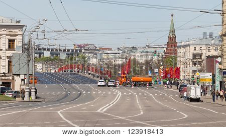 Moscow - 7 May 2015: Large stone bridge closed during the rehearsal of Victory Parade and the tower of the Kremlin with the star of the Kremlin May 7 2015 Moscow Russia