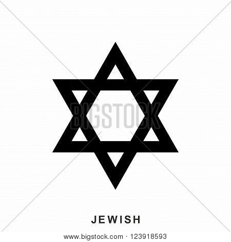 Jewish Star of David icon in flat style isolated on white background. Jewish icon isolated on white background