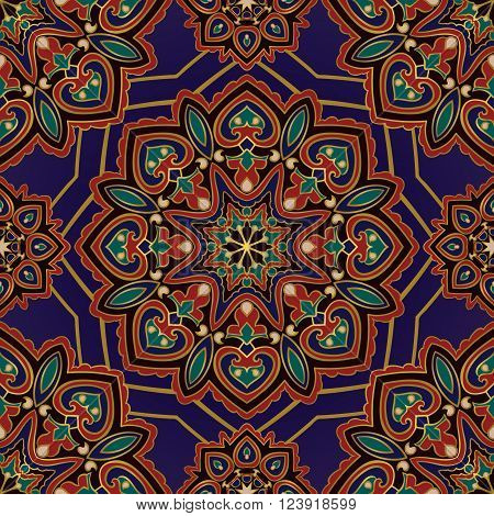 Rich colorful ornament of mandala on a blue background. Template for oriental carpets shawls textiles fabric tile.