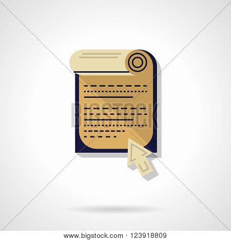 Abstract paper sheet roll with text and arrow cursor. Web page button. Web document. Flat color style vector icon. Web design element for site, mobile and business.