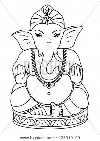Vector Lord Ganesha. Outline sketch of Ganesha for coloring book.