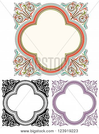 abstract ornate Frame design with Mediterranean decorations