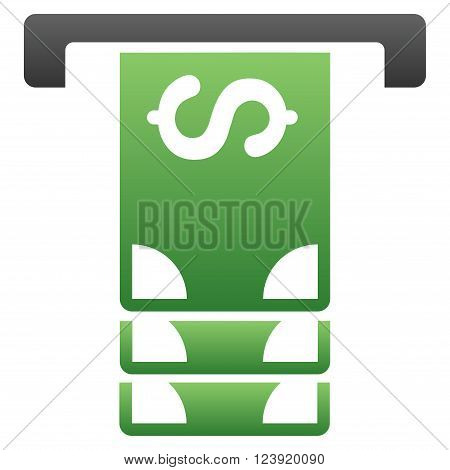 Atm Withdraw vector toolbar icon for software design. Style is a gradient icon symbol on a white background.