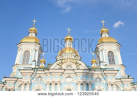 Naval Cathedral of St. Nicholas and the Epiphany in St.Petersburg at sunny day Russia.