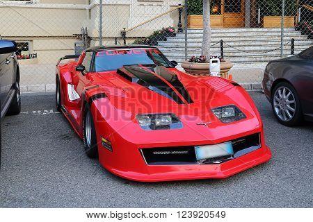 Monaco, Monaco - May 19 2015: It is the French luxury sport car Chevrolet Corvette on Cote Dazur May 19, 2015 in Monaco, Monaco.