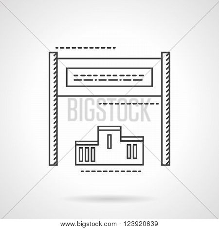 Sport finish tape and podium with first, second and third place. Sport and business competition. Flat line style vector icon. Single design element for website, business.