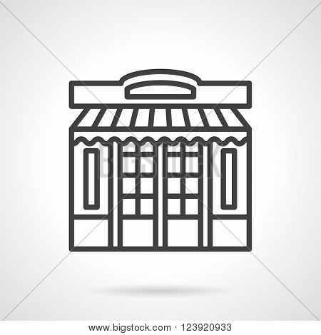 Commercial building facade with double doors and windows, awning and sign board. Shops and markets. Storefront and showcases theme.  Simple black line vector icon. Element for web design, mobile app.