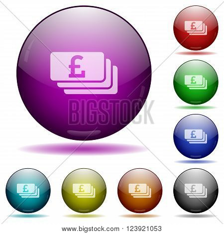 Set of color Pound banknotes glass sphere buttons with shadows.