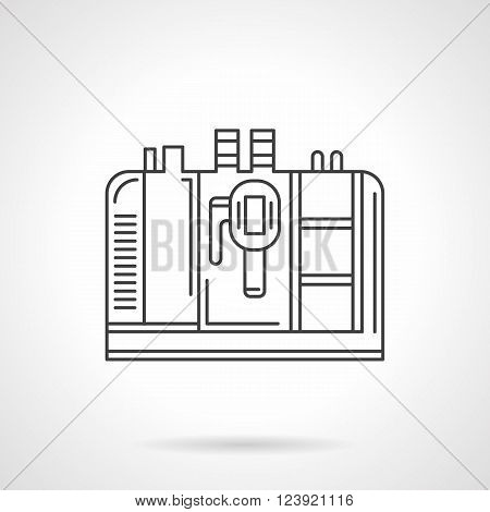 Professional coffee making. Coffee machine. Coffee making equipment for cafe and restaurants. Flat line style vector icon. Single design element for website, business.