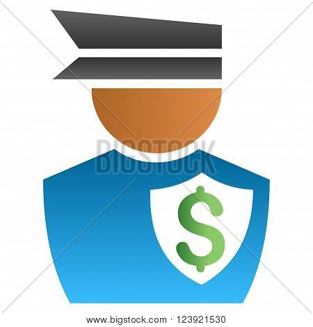 Financial Policeman vector toolbar icon for software design. Style is a gradient icon symbol on a white background.