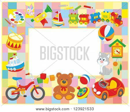 Vector horizontal frame border with colorful toys