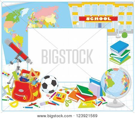 Vector school border frame with a globe, a schoolbag and other educational items