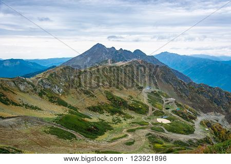 Views of ski resort Rosa Khutor Krasnodar region Russia October 7 2015.