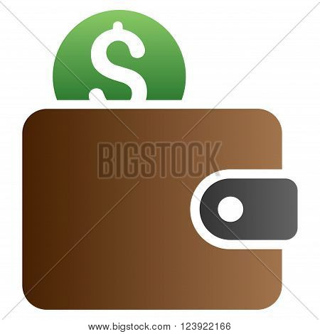 Wallet vector toolbar icon for software design. Style is a gradient icon symbol on a white background.