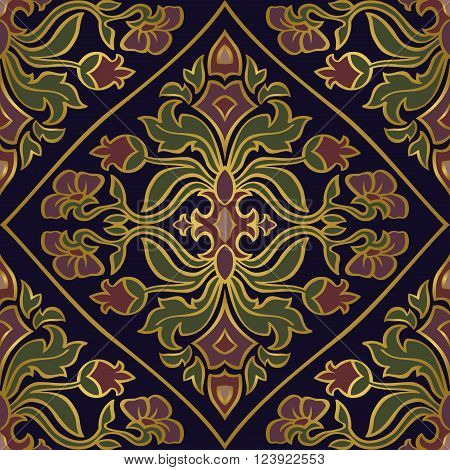 Oriental floral ornament with damask. Templates for carpet textile wallpaper shawl and any surface. Seamless vector pattern of gold contours on a blue background.