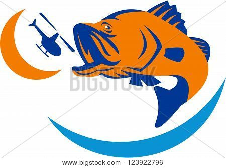 Illustration of a barramundi or Asian sea bass (Lates calcarifer) jumping biting at helicopter on isolated background viewed from the side.