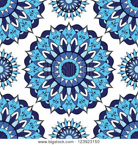 East ornament of mandalas on a white background. Vector seamless pattern of blue circular elements. Template for pillowcase cushion bedding carpet tile mosaic shawl.