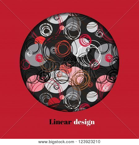 Abstract geometric background. Circle window design. Black red gray hand drawn intersecting outline circles elegant ornament in black and red background. Vector element of graphic design.