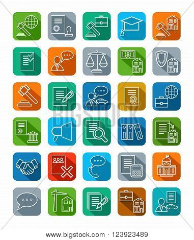 Vector icons of legal services. Linear, flat, white icons on a colored background with a shadow.