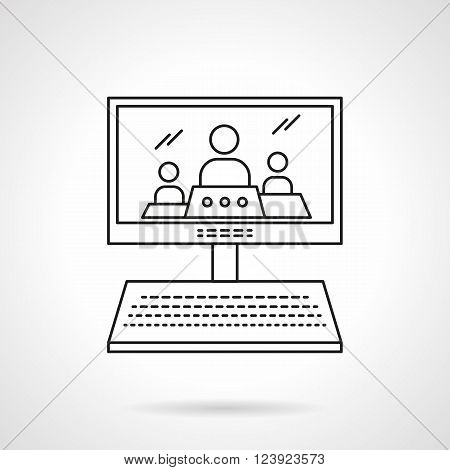 Computer monitor with imaging of three persons. Online lecture, webinar. Distance education theme. Educational technology. Flat line style vector icon. Single design element for website, business.