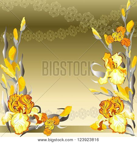 Iris floral background. Yellow iris flowers and lace background. Golden silver iris bouquet hand drawn vector illustration. Printable design blank template. Vector illustration