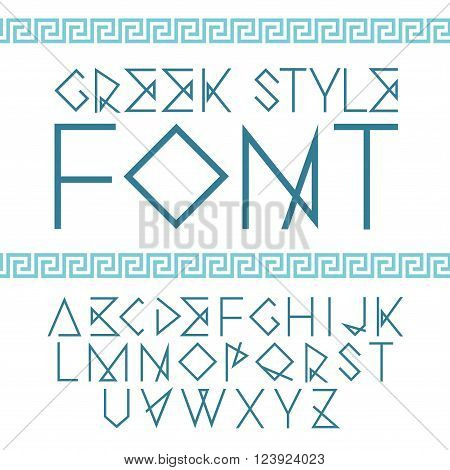 Vector linear font. Greek style with ornament.