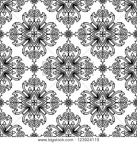 Template for the carpet bedspreads mosaics shawls tiles wallpaper. Vector seamless black and white background. Oriental floral pattern with pomegranates.
