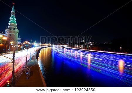 Moscow, Russia - September 18, 2014: Moscow Kremlin and ships on Moskva river at night - Time-lapse