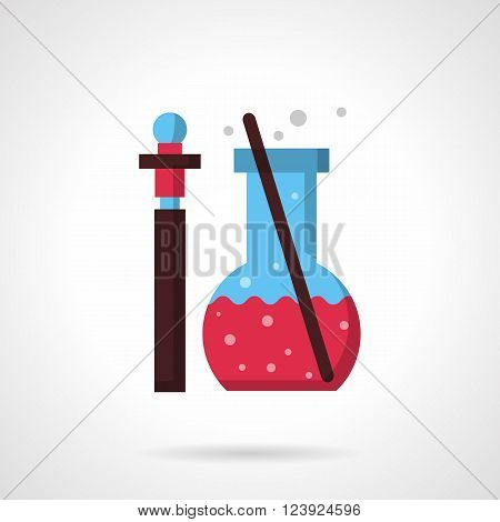 Pharmacy laboratory glass. Thin bottle with sample of medicine or reactive and flask with pink liquid and stick.  Flat color style vector icon. Web design element for site, mobile and business.