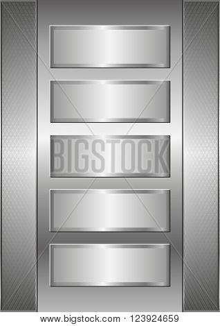 metal background with five metallic banners - vector illustration