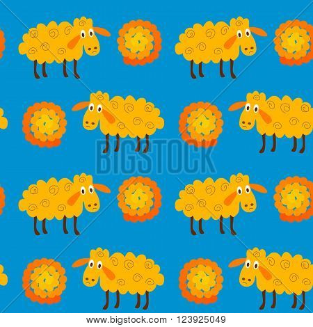 Seamless pattern with sheeps and wool. Vector illustration of sheep and wool on a blue background.