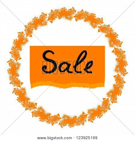 Summer discounts on Orange torn paper. Vector illustration of label sales in the circle and on a sheet of torn paper.