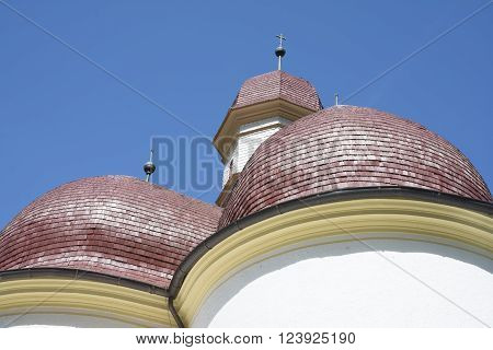 BERCHTESGADEN,GERMANY-MAY 11,2015:view of St. Bartholomew's Church Berchtesgaden in Bavarian Alps during a sunny day.