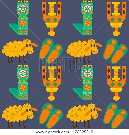 Tile texture with sheeps and wool products. Vector illustration of craft products and items for felting.