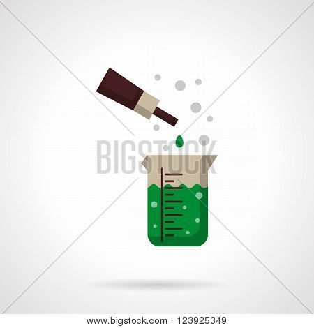 Chemical reaction of green solution in measuring flask and pipette with reactant portion. Laboratory experiments. Flat color style vector icon. Web design element for site, mobile and business.