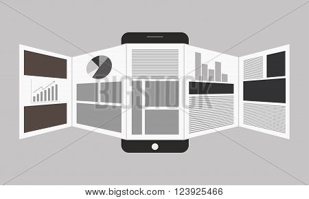 Vector illustration of online reading news or web surfing using smartphone